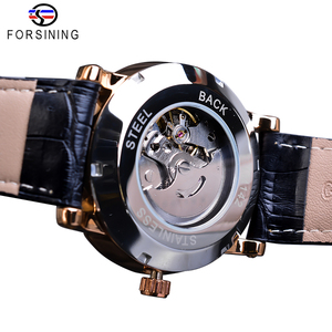 Image 4 - Forsining Simple Men Mechanical Watch Automatic Sub Dial Black Ultra thin Analog Genuine Leather Band Wristwatch Horloge Mannen