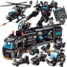Строительные блоки Совместимые модели LegoED кирпичи игрушки военный корабль Танк самолет мальчик игрушка городская полиция Обучающие блоки грузовик
