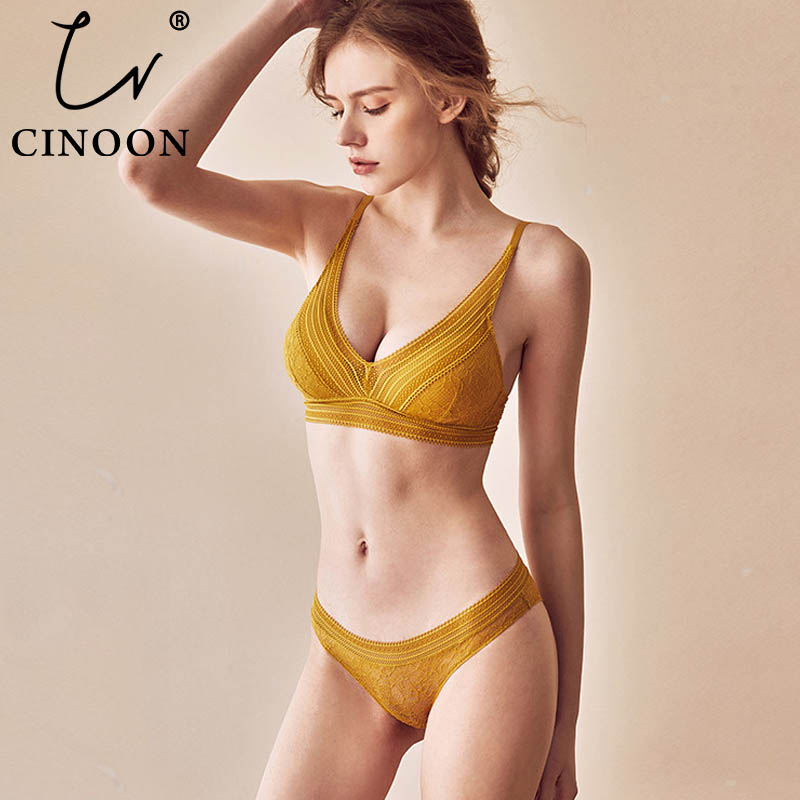 CINOON New Women Lingerie Sexy Embroidery Lace Underwear Sets High Quality Bra Set 3/4 Cup Brand Sexy Intimates Bra & Brief Set image