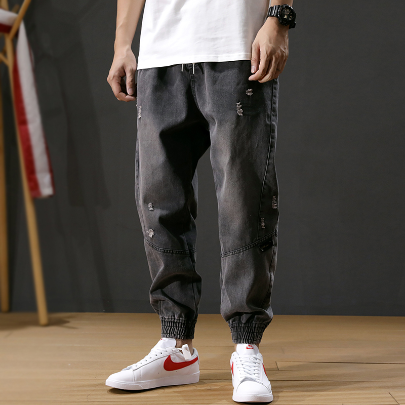Korean Style Fashion Men Jeans Loose Fit Spliced Designer Cargo Pants Black Gray Ripped Harem Jeans Streetwear Hip Hop Jeans Men