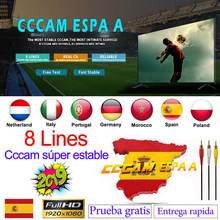 Spanyol Cccam Dana ESPA Server HD Stabil Eropa Clines 8 Line Portugal/Polandia/Italia Ccam 1 Tahun 2 tahun TV Cinebox Satelit Reseptor(China)
