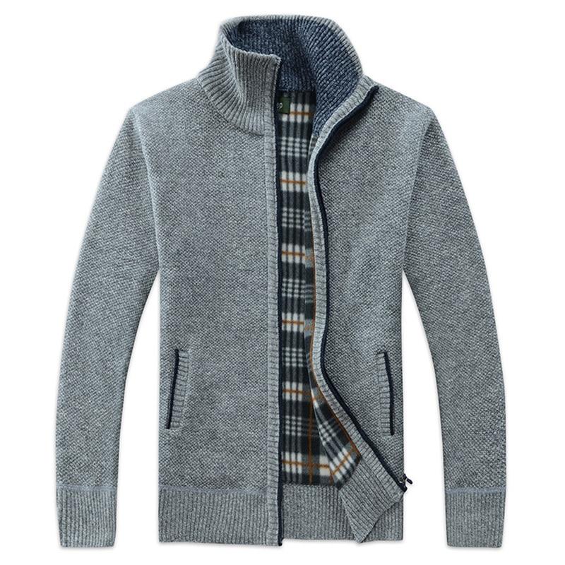 Zogaa 2019 Autumn Winter Men's Sweatercoat Faux Fur Wool Sweater Jackets Men Zipper Knitted Thick Coat Casual Knitwear M-3XL