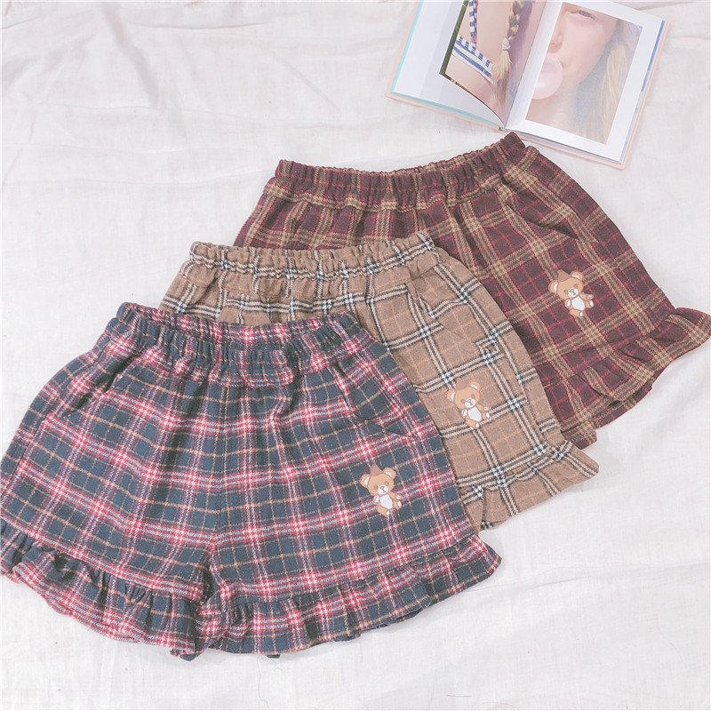 Multi-color Japanese Retro Plaid Woolen Shorts Thin Soft Sister 2019 New Small Fresh Bear Patch Embroidery Shorts Preppy Style