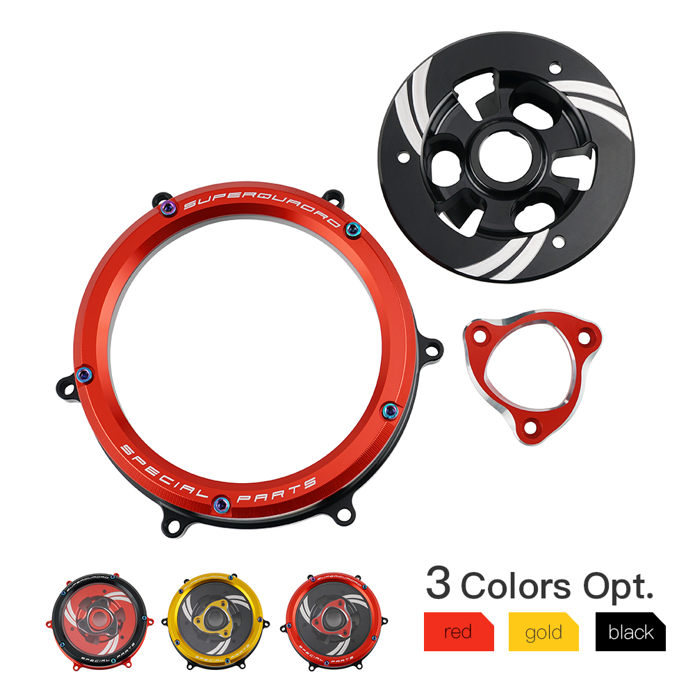 NICECNC CNC Racing Clear Clutch Cover Spring Retainer Pressure Plate Billet Alloy for Ducati Panigale 959 1199 1299|  -