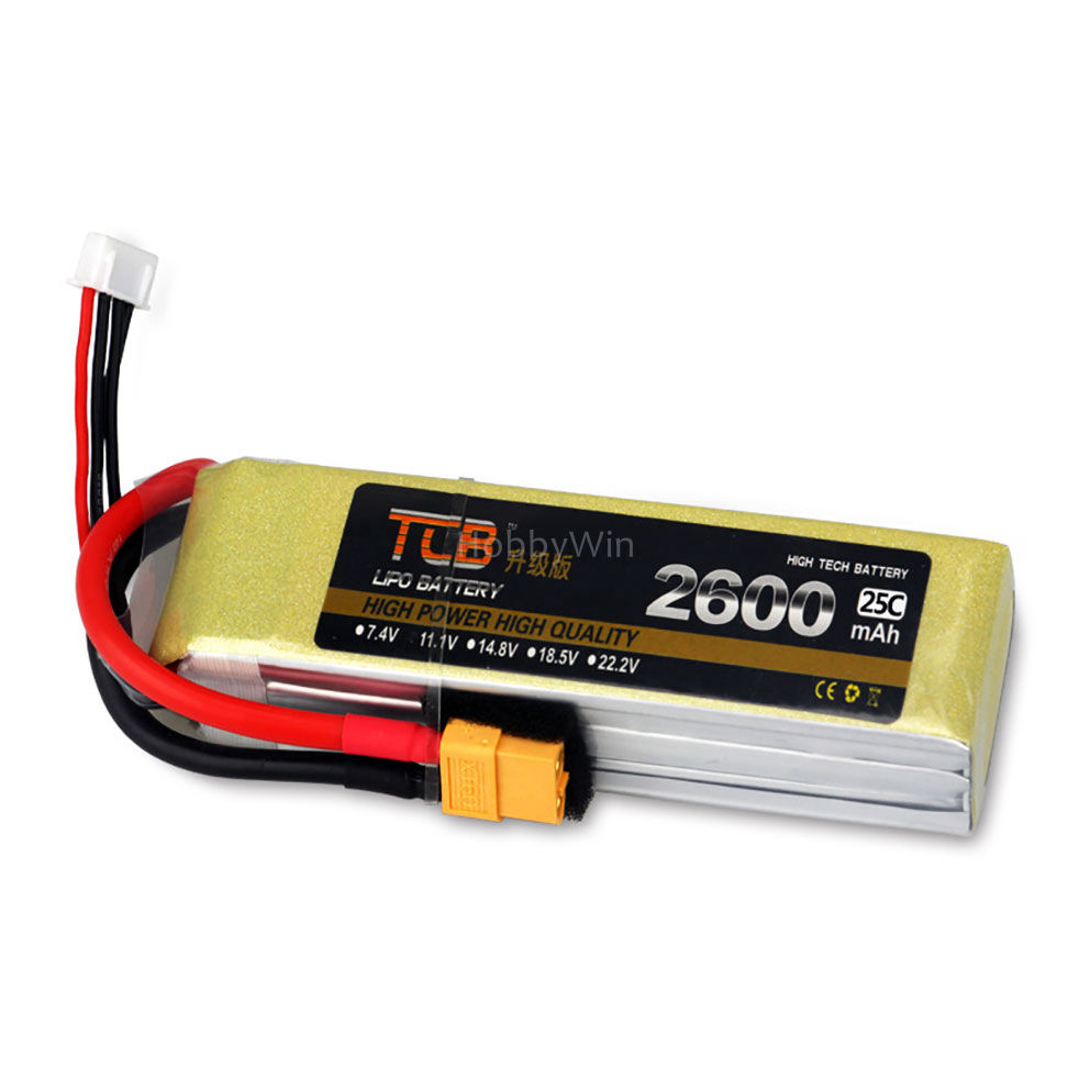 4S 14.8V 2600mAh 25C Upgrade Lipolymer Battery XT60 plug for RC Model Airplane Quadcopter FPV Drone Helicopter image