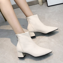 2019 New White Boots Fashion Pointed Toes Sexy Winter Fall Women High Heels Ankle Black Leather