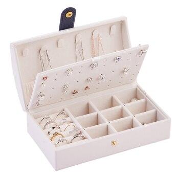 White Small Travel Jewel Box With Mirror Mini Portable Leather Jewelry Organizer Display Travel Boxes Jewelry Box Zipper Leather