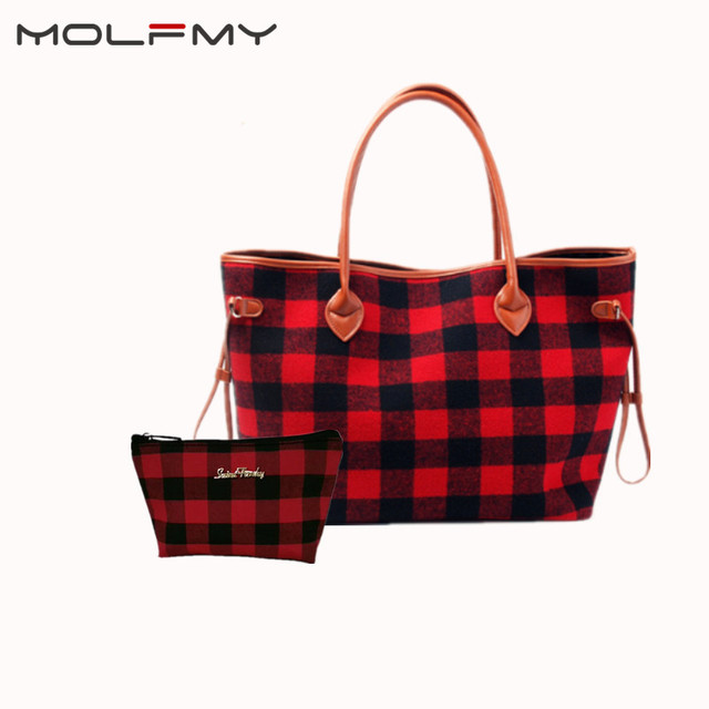 New For Christmas Buffalo Plaid Tote handbag With Lined Leather Trimmed Handles beach bag red and white check shopping handbag