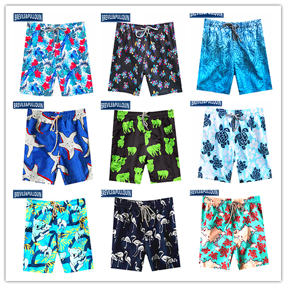 2020 Bermuda Brand Brevile Pullquin Mens Beach Swimtrunks Male Turtles Board Shorts Male Swimwear Adult Koalas Parrot Shorts