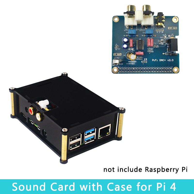 Raspberry Pi 4 Model B PiFi DAC+ V2.0 Sound Card I2S Interface Analog GPIO Audio Board | Acrylic Case For Raspberry Pi 4