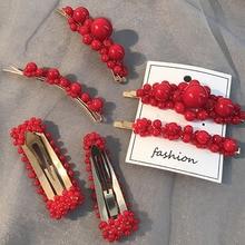 1Pc Fashion Red lmitiation Pearl Flower Hairpins Retro Pearls Hair Clips Geometric Hollow Barrettes Women BB Pins