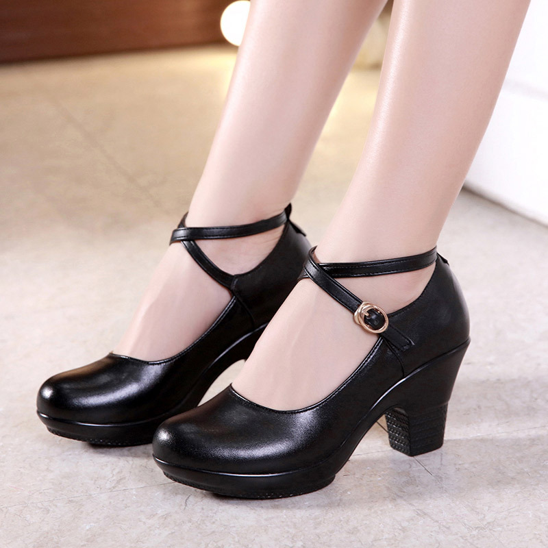 New Fashion Women High Heel Pumps Oxfords Red/black Crystal Party Pumps Platform Round Toe Dance Shoes Pumps 7cm Erf4