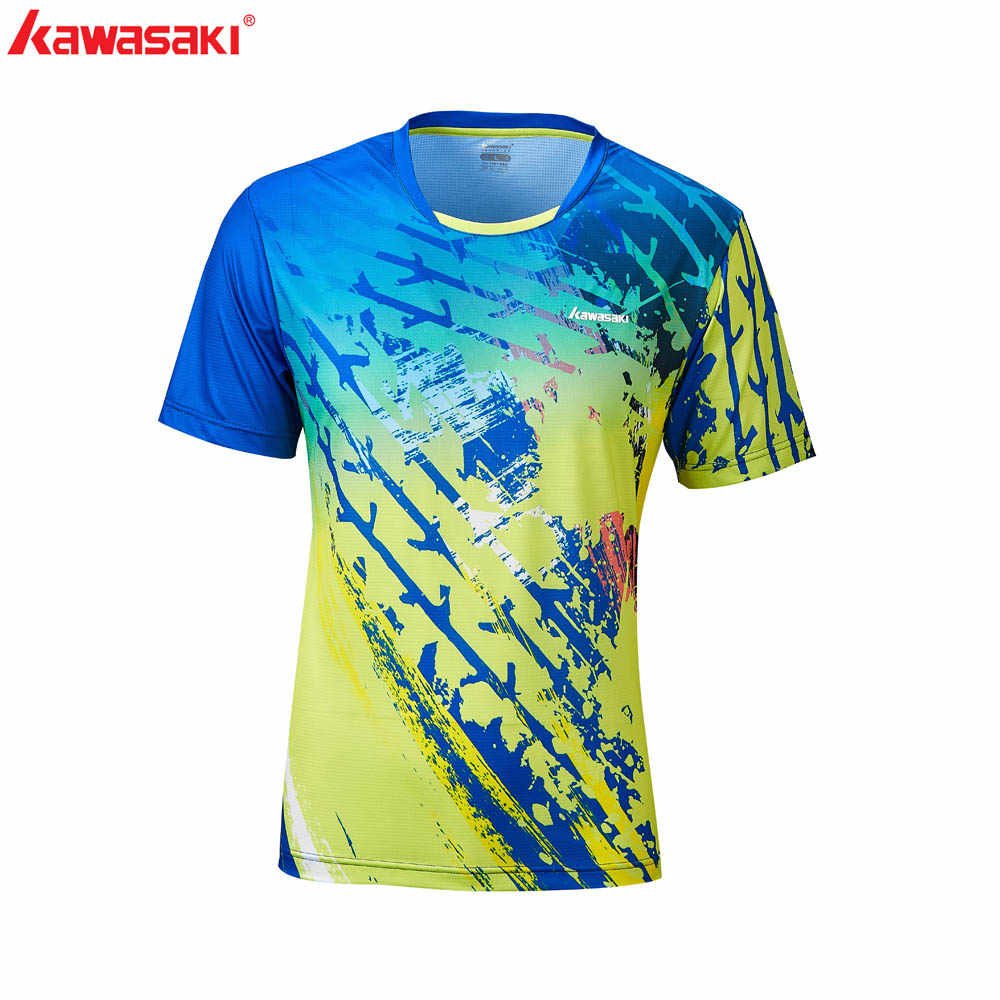 Kawasaki Badminton T-shirt 2020 Summer Family Matching Outfits Parent-child Blue  Print T-shirt Short Sleeve ST-R1229L