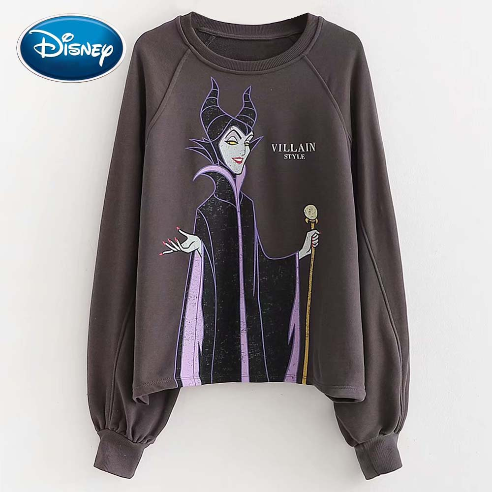 Disney Cute Schneewittchen Queen Witch VILLAIN Letter Cartoon Print Women T-Shirt O-Neck Pullover Long Sleeve Casual Loose Tops