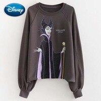 Disney Cute Schneewittchen Queen Witch VILLAIN Letter Cartoon Print Women T Shirt O Neck Pullover Long Sleeve Casual Loose Tops