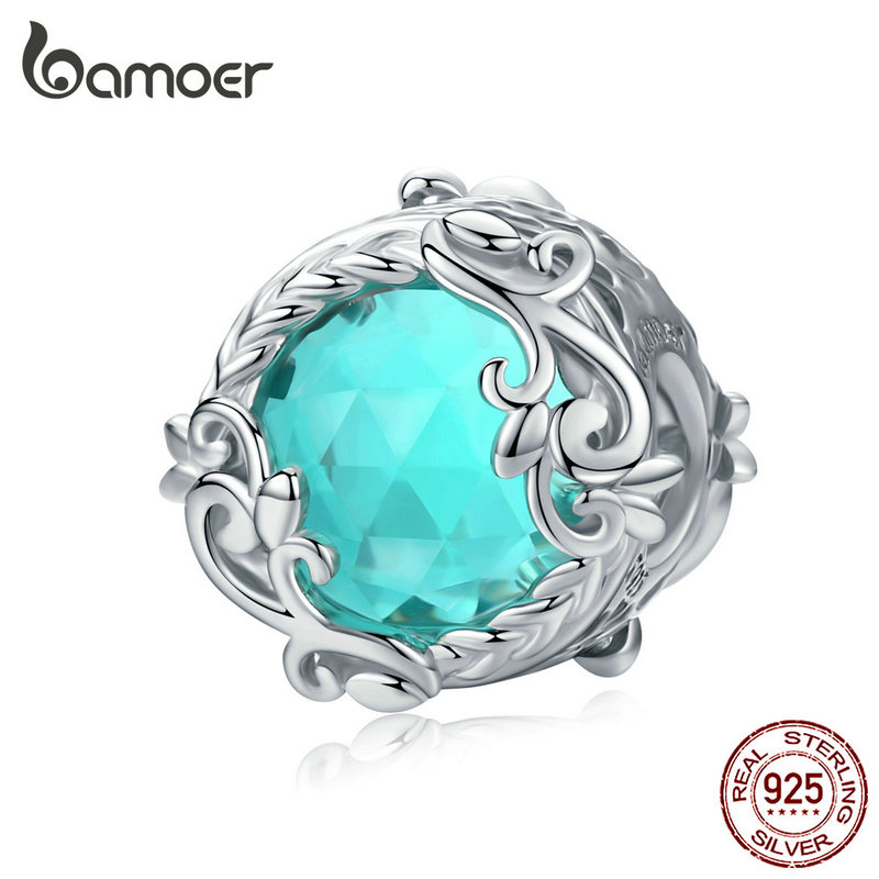 Bamoer Winding Blue Round Beads For Women Jewelry Making Blue Glass Crystal Charm Fit Silver 925 Jewelry Bracelet BSC105