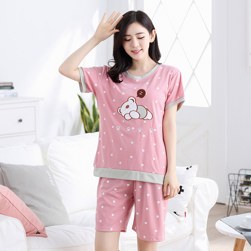 Cartoon Bear Casual Korean-style Two-Piece Set Short Sleeve Shorts Pajamas Summer Women's Thin Knitted Cotton Homewear Set