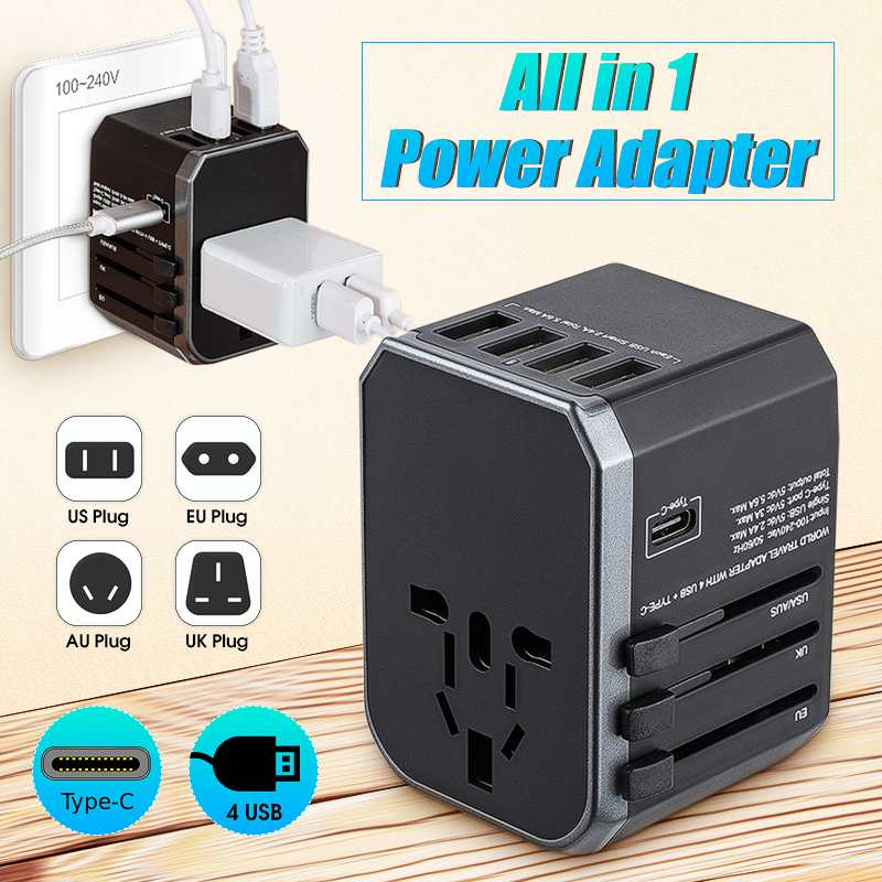 Reise Adapter Internationalen Universal Power Adapter Wand Ladegerät 4 <font><b>USB</b></font> Port Typ-C Elektrische Stecker und Steckdosen Für EU/ UK/US/AU image