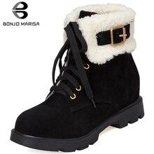 BONJOMARISA New Hot Sale Winter Add Fur Booties Ladies Flat Platform Ankle Snow Boots Women 2019 Casual Warm Shoes Woman