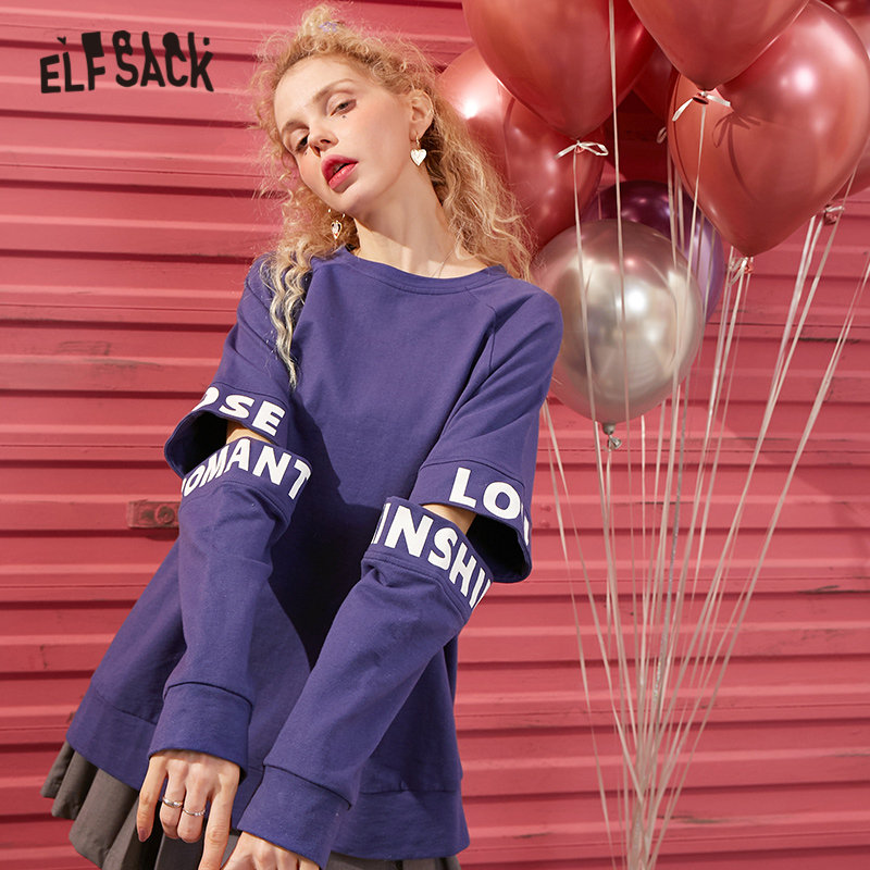 ELFSACK Blue Solid Letter Print Ripped Casual Pullover Sweatshirt Women 2020 Spring Red Korean Long Sleeve Ladies Daily Tops