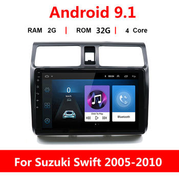 10.1 2DIN Android 9.1 Car Radio Multimedia Player For Suzuki Swift 2005 2006 2007-2010 Navigation GPS Autoradio no DVD Stereo image