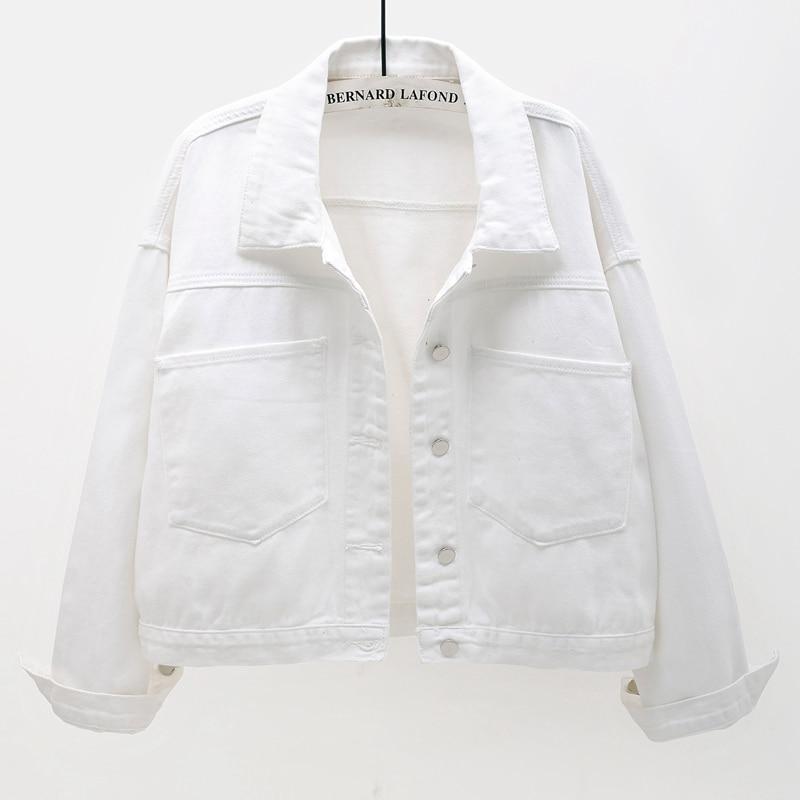 Fashion Big Pocket White Denim Jacket Women Bat sleeve Short Jeans Jackets Coat 2021 Spring Korean Loose Casual Outerwear Female