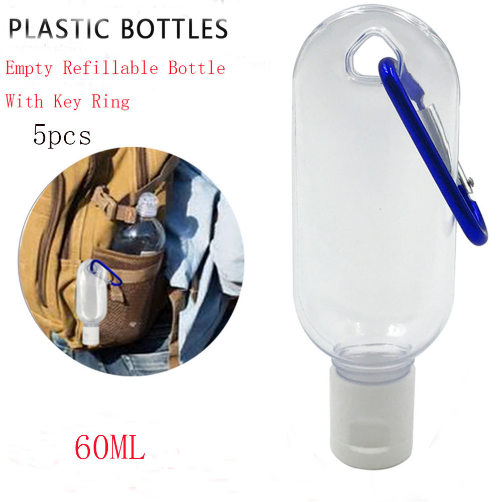 5Pcs/Lot 60ml Empty Refillable Bottle With Key Ring Travel Transparent Plastic Perfume My Small Hand Sanitizer Bottle