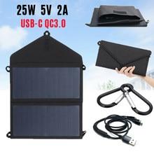 25w painéis solares dobrável portátil dobrável sunpower impermeável 5v/2a usb qc3.0 carregador de painel solar para a bateria do telefone