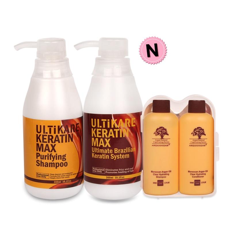Free Argan Hair Care Gift Set+300ml 5% Formalin Brazilian Keratin Treatment+300ml Purifying Shampoo Straighten Normal Cruly Hair