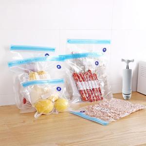 Home Manual vacuum pump ContainReusable Vacuum Zipper Bags for Food Storage BPA free Film Air Valve Bags Kitchen Appliance