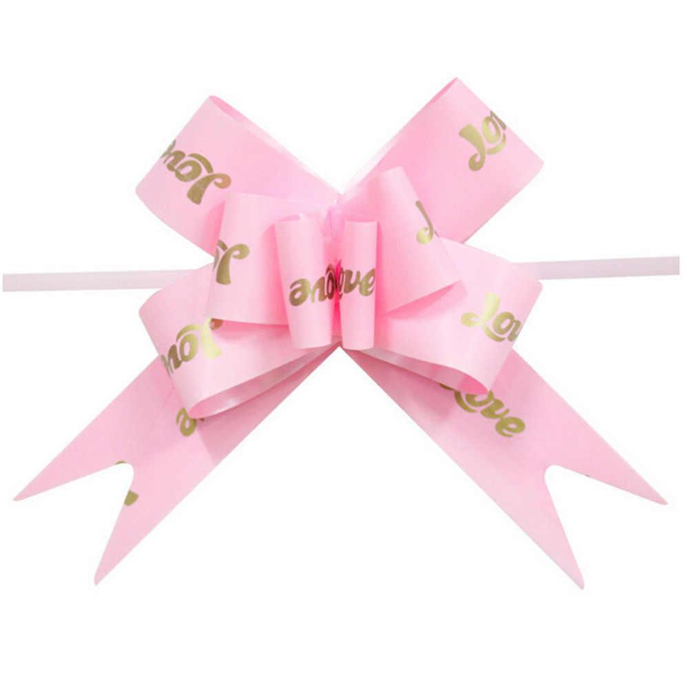 Wstążkowe kokardki na imprezę Halloween boże narodzenie dekoracje na prezenty opakowanie opakowanie do pakowania wstążki 10 sztuk wydrukowane serce miłości ślubne