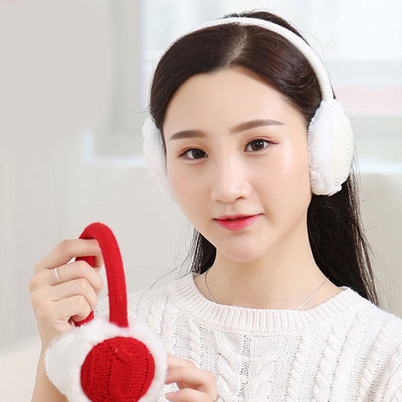 Unsiex Fashion Women Girls Autumn Winter Crochet Knitted Plush Earmuffs Ear Warmer Earflap Ear Cover 2019 Brand Soft Ear Muffs