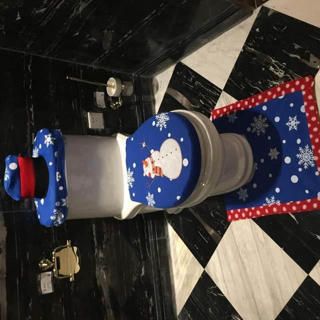 3Pcs/set Christmas Santa Toilet Seat Cover Anti-Slip Bathroom Mat Toliet Rug Christmas Decoration for Home New Year Mat 23