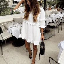 DICLOUD Casual Women White Mini Ruffle Summer Dress Women Short Sleeve Black Solid Loose Dress Beach Tunic Ladies Clothing