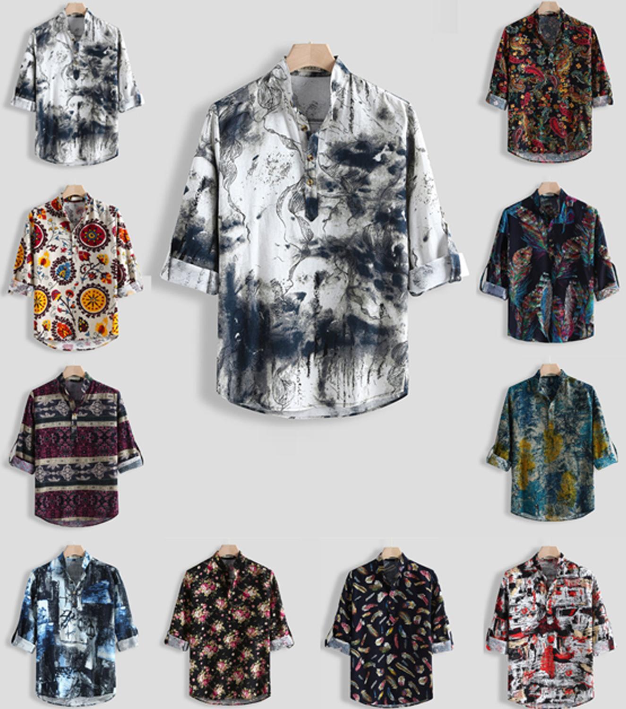 FFXZSJ Brand Men's Clothing Retro National Style Long Sleeve Stand Collar Cotton Linen Print Loose Henry Shirt European Size