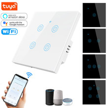 Tuya Smart Touch Switch 86 EU Glass Panel WIFI Light Switch 1/2 /3/4 Gang 220V No Neutral ,Voice Remote Control Timing Function