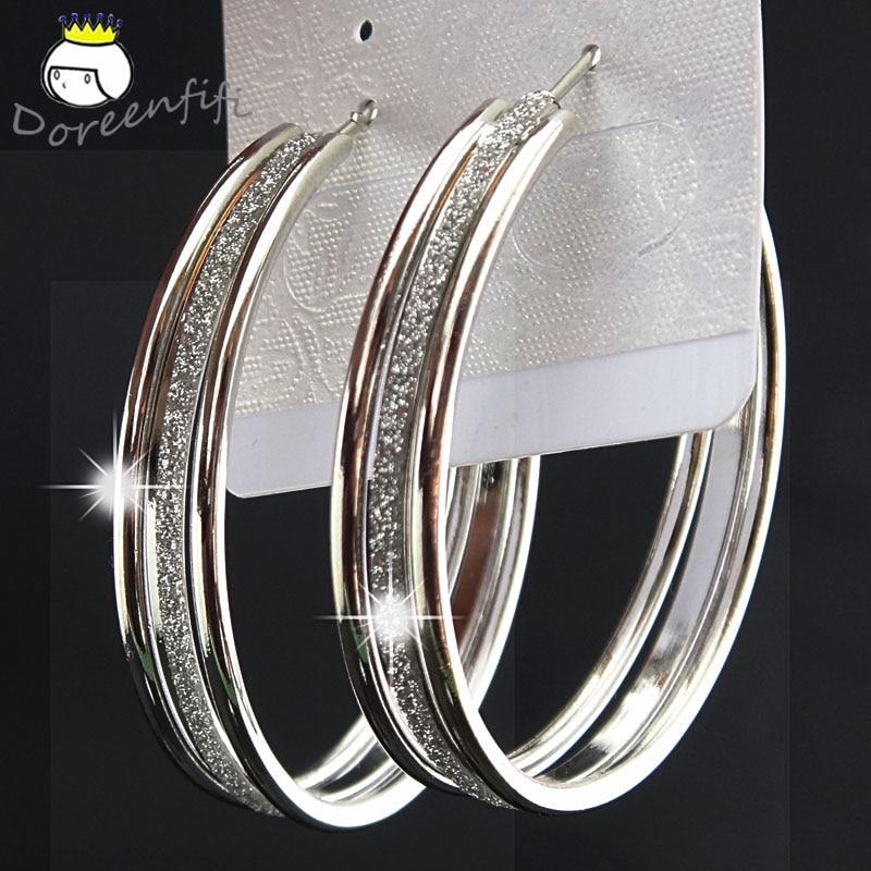Лидер продаж, модные женские серьги-кольца с принтом зебры из матового серебра, большие вечерние ювелирные изделия, женские серьги в подарок - Окраска металла: double silver