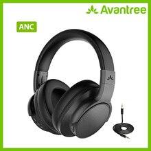 Auriculares Avantree Bluetooth 4,1 con cancelación activa de ruido con micrófono, auriculares ANC estéreo plegables inalámbricos/con cable