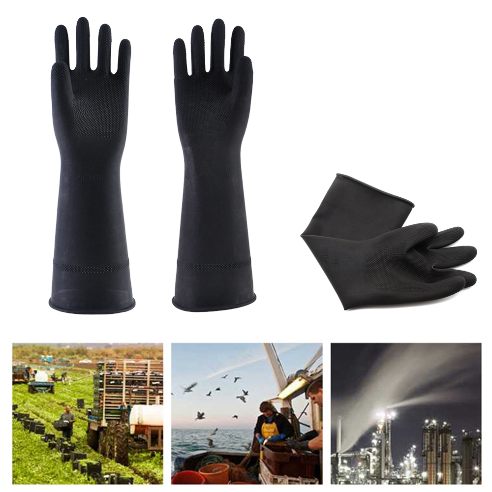 1Pair Thicken Industrial Latex Gloves  Waterproof Industrial Chemical Rubber Gloves|Household Gloves| |  - title=