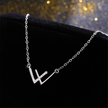 Specialyou Sterling Silver Letter Necklace W Zircon for Women Choker Fine Clavicle Chain
