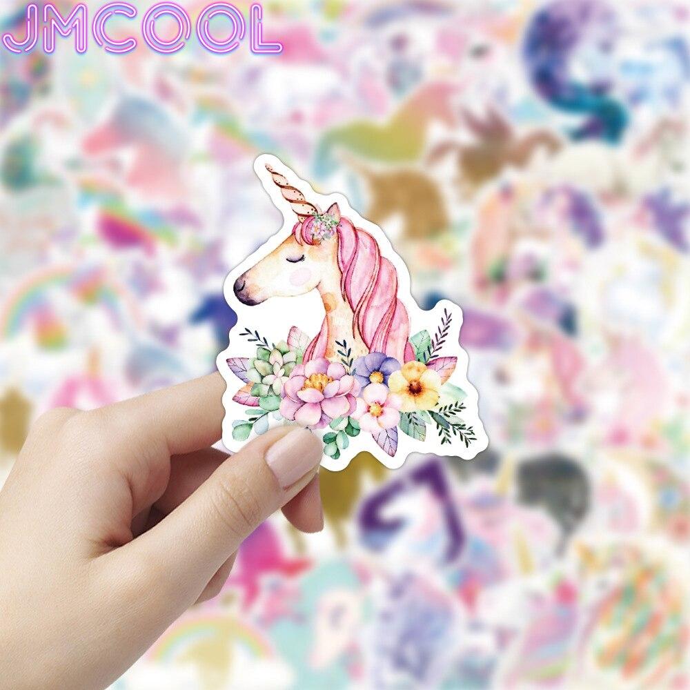 50 sztuk/paczka Cartoon jednorożec koń naklejki na walizkę gitara zderzak deskorolka wodoodporne słodkie naklejki naklejki zabawki