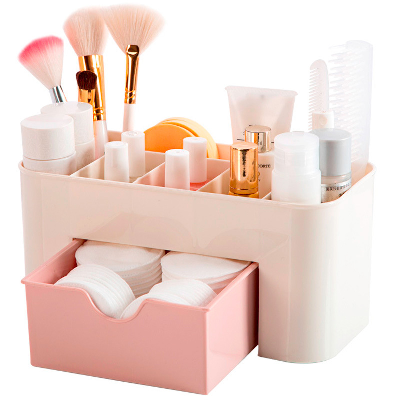 Plastic Makeup Organizer Box Cosmetics Storage Container Lipstick Holder Jewelry Drawer Organizer Sundries Case Makeup Box title=
