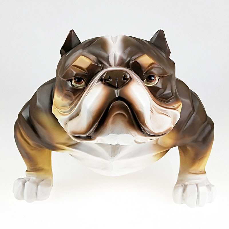 American Bully Model Creative Personality Resin Simulation Dog Bulldog Statue Living Room Entryway Home Decor A1884