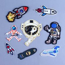 Pulaqi Astronaut Embroidered Badge Iron On Patches Clothes Cartoon Rocket Ship For Kids T-Shirt Applique Stickers H