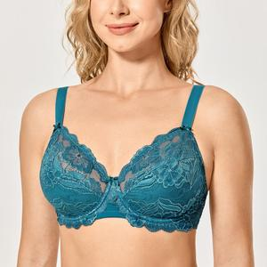 Image 2 - Womens Full Coverage Non padded Underwired Embroidery Floral Lace Bra Plus Size B C D DD E F G H