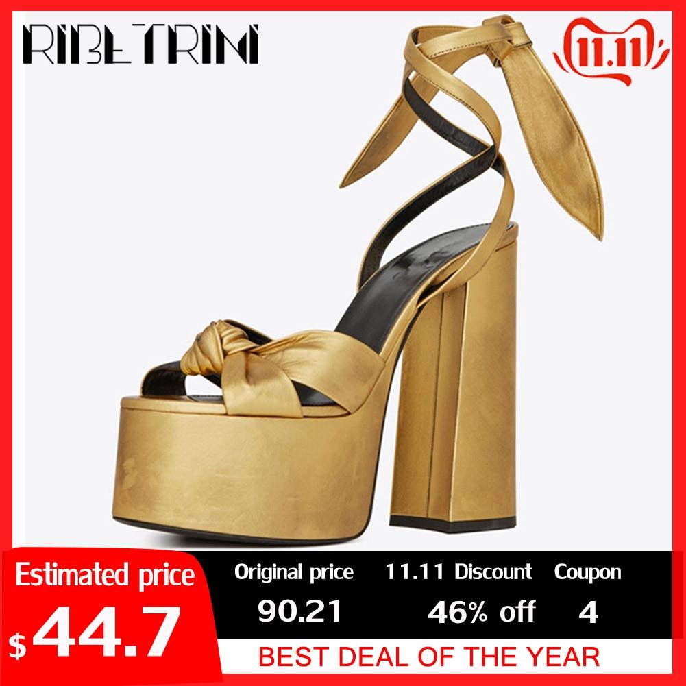 RIBETRINI New Luxury Brand Runway Show Platform Sandals Women 2019 Summer Large Size 34-43 Women High Heels Shoes Woman Party