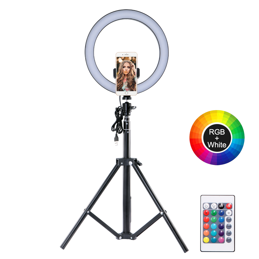 Phone ring fill light with Telescopic phone clip 360 degree even fill light for makeup videolive studio selfie travel home table