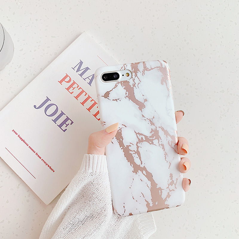 Image 2 - For Iphone XR 7 8 Plus 11ProMax Soft White Phone Case for Iphone X 6 6s Plus Capa iphone Shell Coque with rose gold marble-in Fitted Cases from Cellphones & Telecommunications