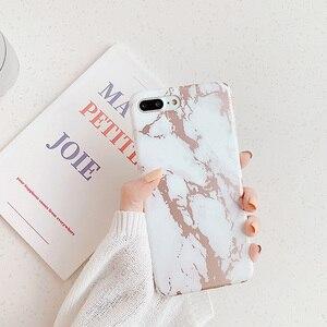 Image 2 - Per Iphone XR 7 8 Più di 11ProMax Morbido Bianco Cassa Del Telefono per iphone X 6 6s Plus Capa iphone Shell Coque con oro rosa di marmo funda