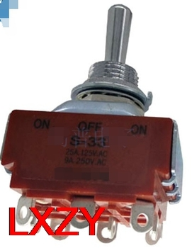 Free Shipping 2Pcs/lot S-33 S33 Toggle Switches on-off-on 3PST 9 Foot 3-Speed 20A Current